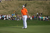 Peter Uihlein (USA) shows his frustration as he misses the putt to tie for the lead during the final round of the 2013 ISPS Handa Wales Open from the Celtic Manor Resort, Newport, Wales. Picture:  David Lloyd / www.golffile.ie