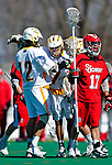 19 March 2011: University of Vermont Catamount Attacker Geoff Worley, a Junior from Coronado, CA celebrates a UVM goal against the St. John's University Red Storm at Moulton Winder Field in Burlington, Vermont. The Catamounts defeated the visiting Red Storm 14-9. Mandatory Credit: Ed Wolfstein Photo
