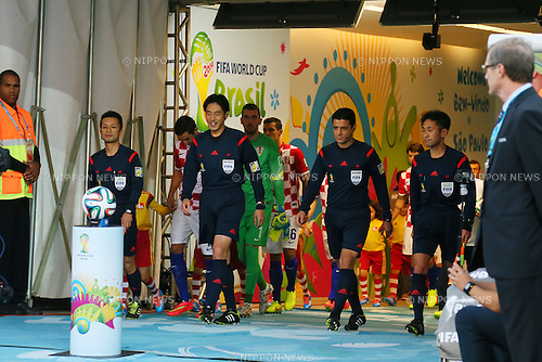 (L to R) <br /> Toru Sagara, <br /> Yuichi Nishimura (Referee), <br /> Hassan Kamranifar, <br /> Toshiyuki Nagi, <br /> JUNE 12, 2014 - Football /Soccer : <br /> 2014 FIFA World Cup Brazil <br /> Group Match -Group A- <br /> between Brazil 3-1 Croatia <br /> at Arena de Sao Paulo, Sao Paulo, Brazil. <br /> (Photo by YUTAKA/AFLO SPORT) [1040]