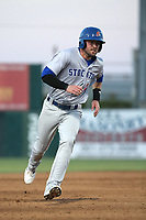 Branden Cogswell (11) of the Stockton Ports runs the bases during a game against the Lancaster JetHawks at The Hanger on May 12, 2017 in Lancaster, California. Lancaster defeated Stockton, 7-2. (Larry Goren/Four Seam Images)