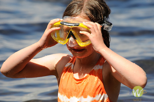Sophie Works with snorkel mask.