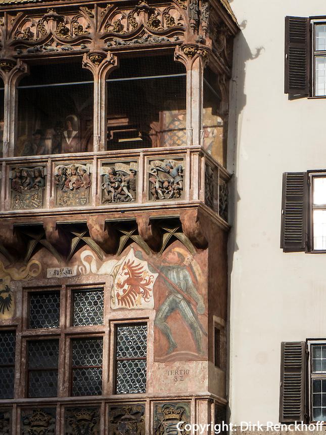 Spätgotischer Erker am Haus Goldenes Dachl, Herzog-Friedrich-Straße, Innsbruck, Tirol, Österreich