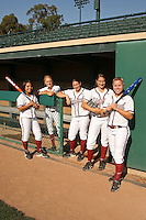 1 November 2007: Tricia Aggabao, Becky McCullough, Michelle Smith, Erin Howe, and Amanda Beardman on picture day at Boyd and Jill Smith Family Stadium in Stanford, CA.