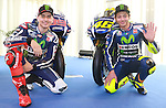 18.01.2016, Telefonica tower, Barcelona, Spain. Moto GP. 2016 Yamaha Racing global press conference. Picture show Jorge Lorenzo and  Valentino Rosi , Movistar Yamaha Moto GP riders,Yamaha motor racing