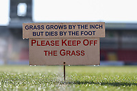 General view of a 'please keep off the grass' sign ahead of the Sky Bet League 1 match between Fleetwood Town and MK Dons at Highbury Stadium, Fleetwood, England on 24 February 2018. Photo by David Horn / PRiME Media Images