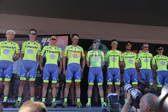 Tinkoff team at sign on before the start of Stage 2 of the 2016 Giro d'Italia running 190km from Arnhem to Nijmegen, The Nethrerlands. 7th May 2016.<br /> Picture: Eoin Clarke | Newsfile<br /> <br /> <br /> All photos usage must carry mandatory copyright credit (&copy; Newsfile | Eoin Clarke)