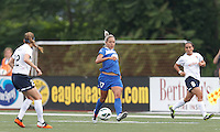 Boston Breakers forward Kyah Simon (17) passes the ball.  In a National Women's Soccer League Elite (NWSL) match, Sky Blue FC (white) defeated the Boston Breakers (blue), 3-2, at Dilboy Stadium on June 16, 2013.