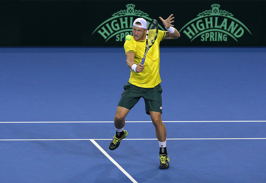 Australia&rsquo;s Sam Groth in action with partner Lleyton Hewitt against Great Britain&rsquo;s Andy Murrayand Jamie Murray in todays doubles match<br /> <br /> Photographer Stephen White/CameraSport<br /> <br /> International Tennis - 2015 Davis Cup by BNP Paribas - World Group Semi-Final - Great Britain v Australia - Day 2 - Saturday 19th September 2015 - The Emirates Arena - Glasgow<br /> <br /> &copy; CameraSport - 43 Linden Ave. Countesthorpe. Leicester. England. LE8 5PG - Tel: +44 (0) 116 277 4147 - admin@camerasport.com - www.camerasport.com.