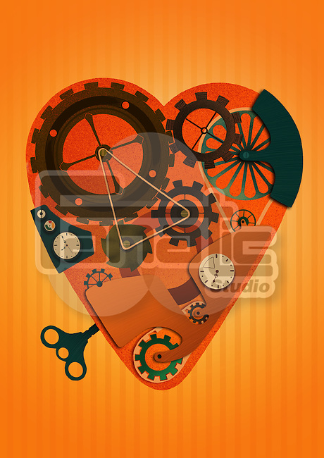 Heart shaped machine with wind-up key over colored background representing driving force