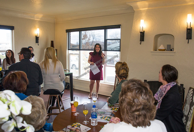 Designer Olivia Osborne speaks during Reno Magazine's Home Decor Workshop at Aspen Leaf Interiors Studio in Reno on Saturday, March 24, 2018.