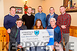 Cianan Ferris of Athletico Ardfert Soccer Club who presented €1,000 Last Man Standing winner Cathy O'Sullivan on Monday night 28th December 2015 in McElligotts Bar,Ardfert. Front l-r: Michael Nelan,Cathy O'Sullivan and Cianan Ferris. Back l-r: John McElligott,Damian Wallace,Christopher Wallace,Tony Neary and Shane Griffin