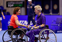 Rotterdam, Netherlands, December 15, 2017, Topsportcentrum, Ned. Loterij NK Tennis, Semi final wheelchair doubles woman, Djoke van Marum (NED and Fleur Pieterse (NED) (L)<br /> Photo: Tennisimages/Henk Koster