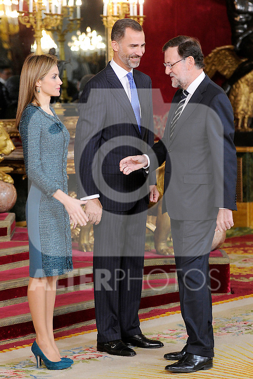Queen Letizia of Spain and King Felipe VI of Spain with the President of Government of Spain Mariano Rajoy during the Spain's National Day Royal Reception at Royal Palace on October 12, 2014 in Madrid, Spain. October 12 ,2014. (ALTERPHOTOS/Pool)