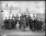 Frederick Stone negative. City Officers looking over Branch Res., 1892. L - R front row Matteson, Bassett, C. Hauser, R. Bleaksley, Mayor Webster, Fitzpatrick, M. J. Daly, H. Wade, Eng. Carnes, Joe Cullen, Back Row Barlow, J.H. Hart, J. W. Webster, Jack McDonald, Milo Gray.