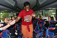 SAN ANTONIO, TX - APRIL 4:  A former Stanford basketball player on the team bus before Stanford's 73-66 win over Oklahoma in the Final Four semi-finals at the Alamo Dome on April 4, 2010 in San Antonio, Texas.