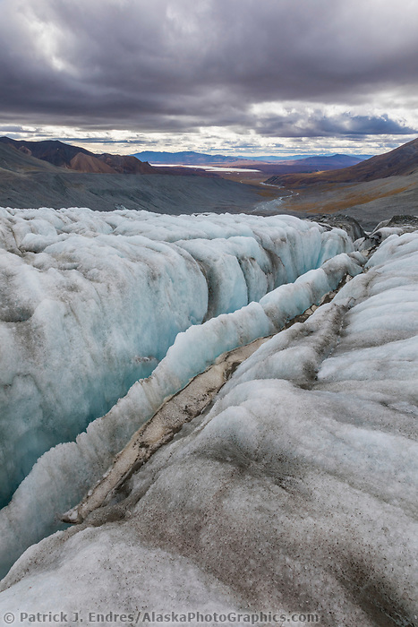 Crevasse in the Gulkana Glacier in the Alaska Range mountains, Interior, Alaska.