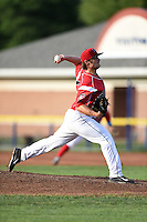 Batavia Muckdogs pitcher Ben Holmes (36) delivers a pitch during a game against the Jamestown Jammers on July 25, 2014 at Dwyer Stadium in Batavia, New York.  Batavia defeated Jamestown 7-2.  (Mike Janes/Four Seam Images)