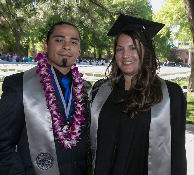 Mark Isaac and Conor Romas during the University of Nevada College of Agriculture, Biotechnology & Natural Resources and College of Education graduation ceremony on Friday evening, May 19, 2017.