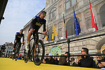 Luke Rowe (WAL) Team Sky at the team presentation in Antwerp before the start of the 2019 Ronde Van Vlaanderen 270km from Antwerp to Oudenaarde, Belgium. 7th April 2019.<br /> Picture: Eoin Clarke | Cyclefile<br /> <br /> All photos usage must carry mandatory copyright credit (&copy; Cyclefile | Eoin Clarke)