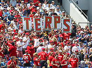 Annapolis, MD - May 20, 2018: Maryland Terrapins fans celebrate after a goal during the quarterfinal game between Maryland vs Cornell at  Navy-Marine Corps Memorial Stadium in Annapolis, MD.   (Photo by Elliott Brown/Media Images International)