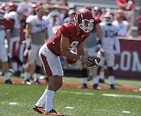 NWA Democrat-Gazette/MICHAEL WOODS &bull; @NWAMICHAELW<br /> University of Arkansas punter Blake Johnson runs drills during practice Saturday, August 15, 2015 at Razorback Stadium in Fayetteville.