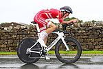 Mikkel Bjerg of Denmark in action during the Men's Under 23 Individual Time Trial of the UCI World Championships 2019 running 30.3km from Ripon to Harrogate, England. 24th September 2019.<br /> Picture: Alex Whitehead/SWPix.com | Cyclefile<br /> <br /> All photos usage must carry mandatory copyright credit (© Cyclefile | Alex Whitehead/SWPix.com)