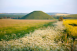 Silbury Hill prehistoric site, near Avebury, Wiltshire, England, UK is the largest man made mound in Europe.