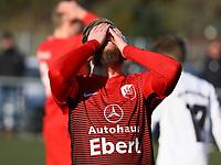 Andreas Adamek (SV Unter-Flockenbach) nach vergebener Chance - 25.02.2018: SKV Büttelborn vs. SV Unter-Flockenbach, Gruppenliga Darmstadt