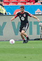 06 October 2012: D.C. United defender Chris Korb #22 in action during an MLS game between D.C. United and Toronto FC at BMO Field in Toronto, Ontario..D.C. United won 1-0..