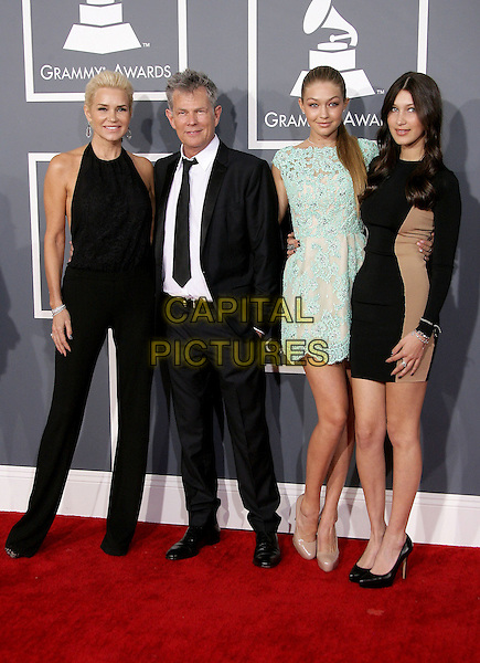 Yolanda Foster and David Foster & guests.The 55th Annual GRAMMY Awards held at STAPLES Center, Los Angeles, California, USA..February 10th, 2013.grammys full length black suit sleeveless jumpsuit green blue dress lace .CAP/ADM.©AdMedia/Capital Pictures.