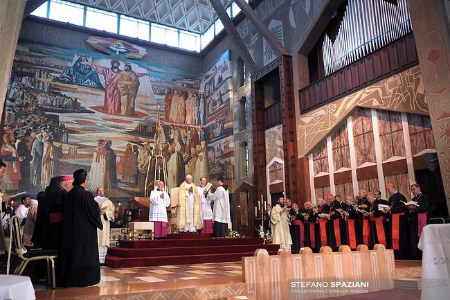 Pope Benedict XVI celebrates a mass in the Church of the Annunciation, believed to stand at the site of Mary's house where the angel Gabriel appeared and announced that she would give birth to Jesus Christ, in Nazareth, northern Israel, Thursday, May 14, 2009.