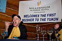 Jeff King receives the *Millenium Hotel First to the Yukon River* award dinner inside the Community Center at the village of Ruby in Interior Alaska during the 2010 Iditarod