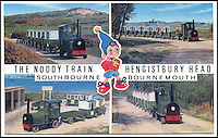BNPS.co.uk (01202 558833)<br /> Pic: <br /> <br /> Vintage postcard showing thre train in use. <br /> <br /> There was outrage today after a family that has run one of Britain's first 'Noddy' land trains for 46 years were served with a notice to quit the service.<br /> <br /> The much-loved novelty train that carries people to a remote beach was started in 1968 by the late Roger Faris, who hand-built the carriages himself.<br /> <br /> Since his death 34 years ago his widow Joyce, 88, has operated the independent service for 364 days a year and runs it more as a hobby than a profitable business.<br /> <br /> The little train has been used by generations of people and become a popular fixture at the Hengistbury Head beauty spot in Dorset.<br /> <br /> Now after five decades of service, town hall officials have told Mrs Faris they will not be renewing their contract with her as they intend to operate their own train service.