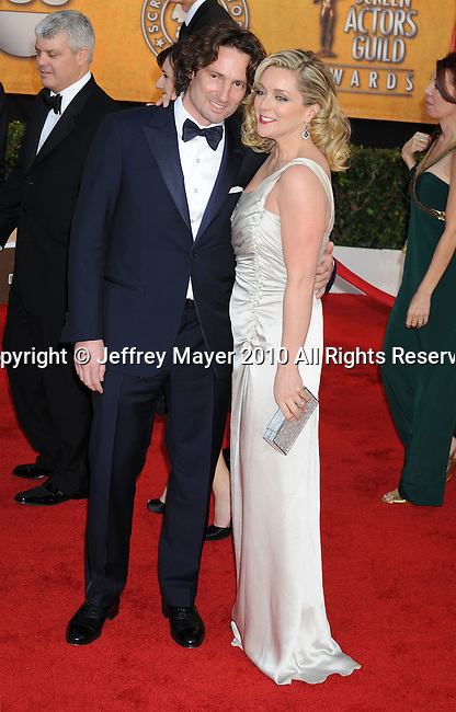 LOS ANGELES, CA. - January 23: Jane Krakowski and Robert Godley arrive at the 16th Annual Screen Actors Guild Awards held at The Shrine Auditorium on January 23, 2010 in Los Angeles, California.