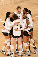 30 November 2007: Alix Klineman celebrates with Cynthia Barboza, Foluke Akinradewo, Bryn Kehoe, Cassidy Lichtman and Gabi Ailes during Stanford's 3-0 win over Santa Clara University in the first round of the NCAA Division 1 Women's Volleyball Championships in Maples Pavilion in Stanford, CA.