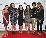 (l-r) Michelle Udrih, ?, ?, Jaclyn Rosenberg, Monique Pridgeon and Shekinah Beckett attend the 3rd Annual Wives' Holiday Soiree at Totokaelo in SOHO on December 9, 2015.