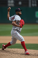 OAKLAND, CA - APRIL 4:  Eduardo Rodriguez #57 of the Boston Red Sox pitches against the Oakland Athletics during the game at the Oakland Coliseum on Thursday, April 4, 2019 in Oakland, California. (Photo by Brad Mangin)
