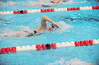 Wisconsin's Abby Soderholm swims in the 800-yard freestyle relay at the UW Natatorium on Friday in Madison