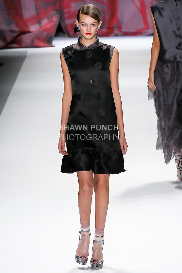 Model walks the runway in an outfit by Cynthia Rowley for the Cynthia Rowley Spring 2011 runway show, during Merced-Benz Fashion Week, September 11, 2010.