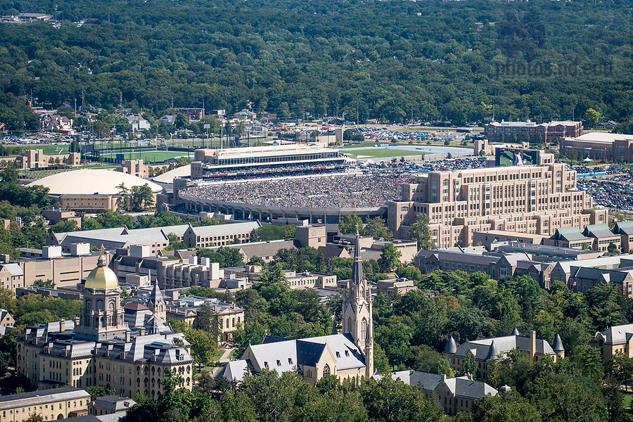 September 2, 2017; Main Building, Basilica and Notre Dame Stadium on a game day. (Photo by Matt Cashore/University of Notre Dame)