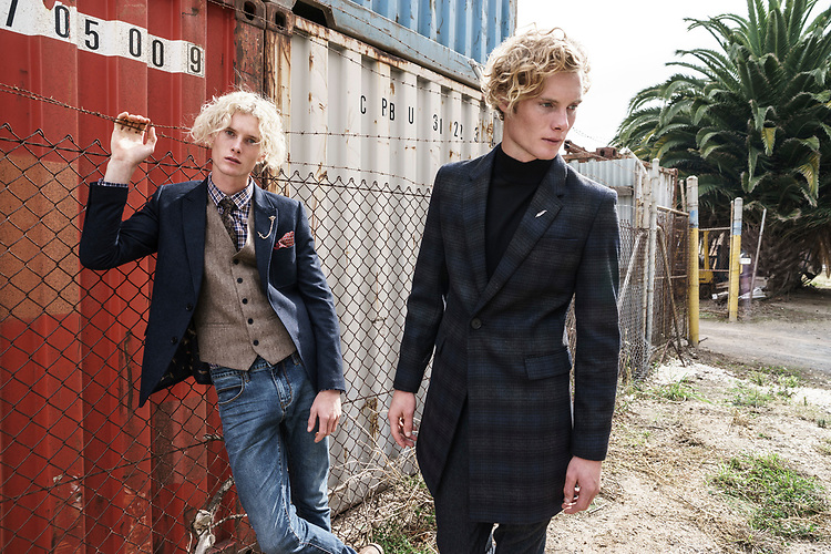 Sunday Mail Fashion with Mirella , Mens Layers  shot on lacation at Pt Adelaide with the Vernon-Skewes  Twins from Finesse Models , Photo: Nick Clayton