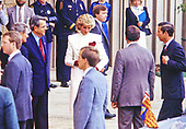 "Princess Diana and Prince Charles are greeted by the Chairman and President of J.C. Penney William Howell and Dr. David Miller as they arrive at the department store in Springfield, Virginia on November 11, 1985. The Prince and Princess were at the store touring its ""Best of Britain"" merchandise sale.<br /> Credit: Howard L. Sachs / CNP"