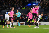 5th October 2017, Hampden Park, Glasgow, Scotland; FIFA World Cup Qualification, Scotland versus Slovakia; Scotland's Chris Martin is congratulated after forcing Slovakia's Martin Skrtel into scoring an own goal to earn Scotland a 1-0 win over Slovakia by Ikechi Anya