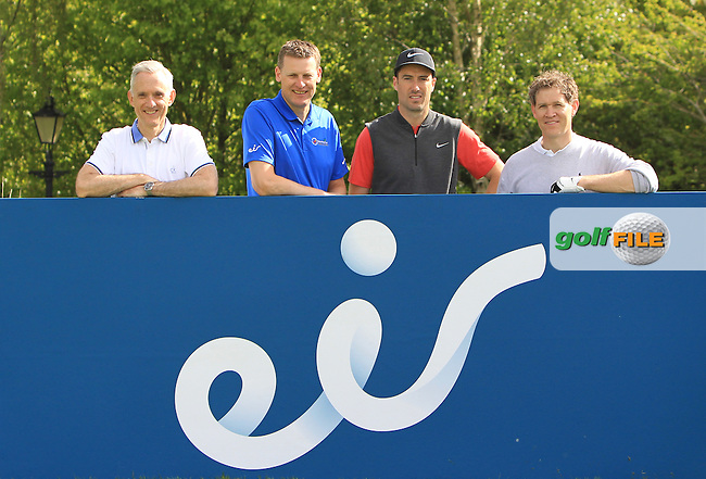 Mick Byrne, David Walsh and John Leamy from EIR with Ross Fisher (ENG) on the 13th green during Wednesday's Pro-Am round of the Dubai Duty Free Irish Open presented  by the Rory Foundation at The K Club, Straffan, Co. Kildare<br /> Picture: Golffile | Thos Caffrey<br /> <br /> All photo usage must carry mandatory copyright credit <br /> (&copy; Golffile | Thos Caffrey)
