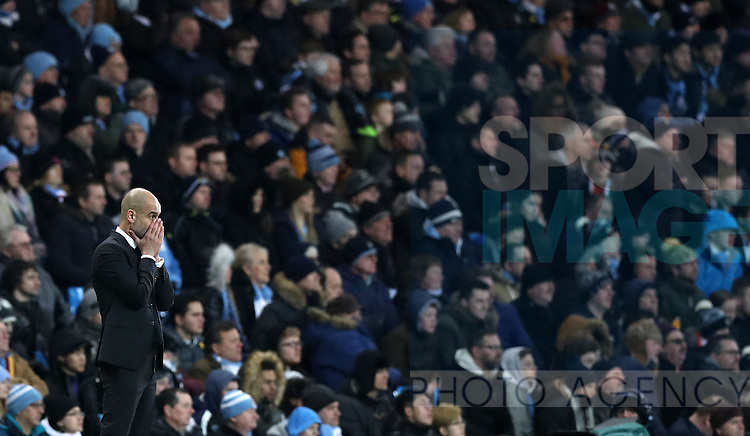 Manchester City Manager Pep Guardiola during the Premier League match at Etihad Stadium, Manchester. Picture date: January 21st, 2017.Photo credit should read: Lynne Cameron/Sportimage