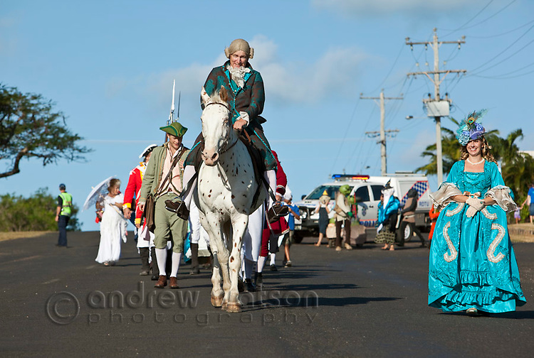 Parade along Charlotte Street during Cooktown Discovery Festival (held in June).  Cooktown, Queensland, Australia