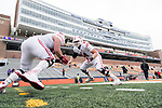 Wisconsin Badgers offensive linemen warmup prior to an NCAA College Big Ten Conference football game against the Illinois Fighting Illini Saturday, October 28, 2017, in Champaign, Illinois. The Badgers won 24-10. (Photo by David Stluka)