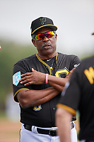 Pittsburgh Pirates coach Rennie Stennett (6) during the teams first Spring Training practice on February 18, 2019 at Pirate City in Bradenton, Florida.  (Mike Janes/Four Seam Images)