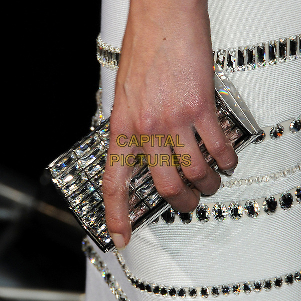 "ADRIANNE PALICKI's bag .""Legion"" Los Angeles Premiere held at Arclight Cinemas Cinerama Dome,  Hollywood, California, USA, .21st January 2010..detail silver clutch hand crystals .CAP/ADM/BP.©Byron Purvis/AdMedia/Capital Pictures."