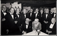 BNPS.co.uk (01202 558833)<br /> Pic: IAA/BNPS<br /> <br /> Sumpter(l) with other 617 crew at a dinner for Barnes Wallis(seated) after the war.<br /> <br /> A fascinating and historic logbook and photographs from a Dambuster's hero who also went on many other famous raids during WW2 has come light. <br /> <br /> The remarkable collection belonged to Flight Sergeant Leonard Sumpter who was a bomb aimer on the iconic Dam's mission and put together a unique scrapbook of his thrilling wartime career in Bomber Command's most famous squadron.<br /> <br /> As well as the bouncing bomb sortie, the ace bomb aimer also dropped Barnes Wallis's later invention of massive Tallboy and Grand Slam 'bunker busting' bombs, the largest non nuclear warheads of the war.<br /> <br /> Only the elite 617 squadron were entrusted with delivering these hugely valuable weapons onto their vital targets, that included U-boat pens, V2 rocket sites and even Hitler's Bavarian hideaway the Eagles Nest.<br /> <br /> Also included are pictures Mr Sumpter took in 1947 during a summer excusion to visit some of the sites he had attacked during the conflict.<br /> <br /> Flt Sgt Sumpter's daughter has decided to put the photo album up for auction together with his logbook and his personal scrapbook.